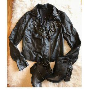 Rock & Republic Faux leather Moto Jacket XS
